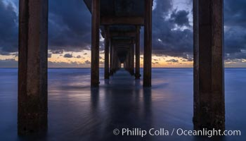 Scripps Pier at sunset, La Jolla, California. Scripps Institution of Oceanography, La Jolla, California, USA, natural history stock photograph, photo id 29310
