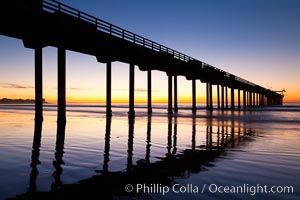 Research pier at Scripps Institution of Oceanography SIO, sunset, La Jolla, California
