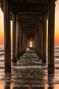 Scripps Pier solstice, sunset aligned perfectly with the pier. Scripps Institution of Oceanography, La Jolla, California, USA, natural history stock photograph, photo id 28476