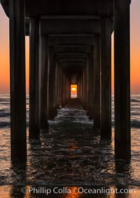 Scripps Pier solstice, sunset aligned perfectly with the pier. Scripps Institution of Oceanography, La Jolla, California, USA, natural history stock photograph, photo id 28478