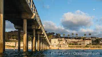 Scripps Pier, Surfer's view from among the waves. Research pier at Scripps Institution of Oceanography SIO, sunset. Scripps Institution of Oceanography, La Jolla, California, USA, natural history stock photograph, photo id 30159