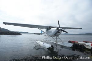 Seaplane at the floatplane dock in Tofino, typical overcast day