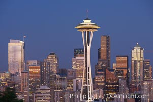 Seattle city skyline at dusk, Space Needle at right