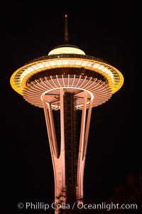 Space Needle at night, Seattle, Washington