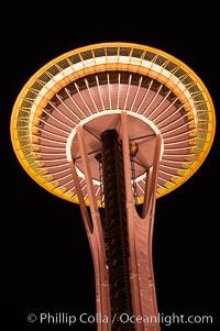 Space Needle at night, Seattle, Washington