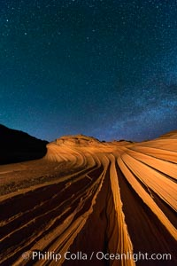 The Second Wave at Night.  The Second Wave, a spectacular sandstone formation in the North Coyote Buttes, lies under a sky full of stars, Paria Canyon-Vermilion Cliffs Wilderness, Arizona