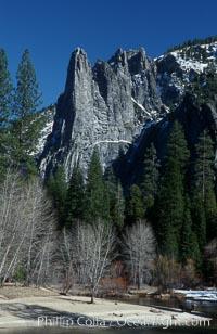 Sentinel Rock and Merced River, Yosemite Valley, Yosemite National Park, California