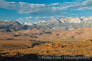 Sierra Nevada mountain range viewed from Volcanic Tablelands, near Bishop, California