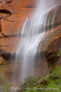 Waterfall at Temple of Sinawava during peak flow following spring rainstorm.  Zion Canyon.,  Copyright Phillip Colla, image #12451, all rights reserved worldwide.