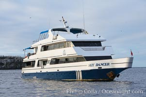 Sky Dancer, a liveaboard dive tour boat, at anchor, Wolf Island