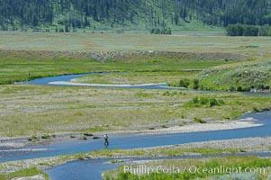 Fly fishermen fish along Soda Butte Creek near the Lamar Valley, Yellowstone National Park, Wyoming