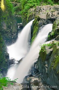 Sol Duc Falls. Sol Duc Falls is one of the largest and most beautiful waterfalls in Olympic National Park. Surrounding the falls is an old-growth forest of hemlocks and douglas firs, some of which are three hundred years in age, Sol Duc Springs