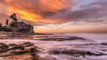 A fiery sunrise explodes over the La Jolla coastline. La Jolla, California, USA, natural history stock photograph, photo id 28872