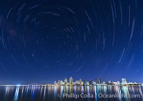 Star Trails over the San Diego Downtown City Skyline.  In this 60 minute exposure, stars create trails through the night sky over downtown San Diego