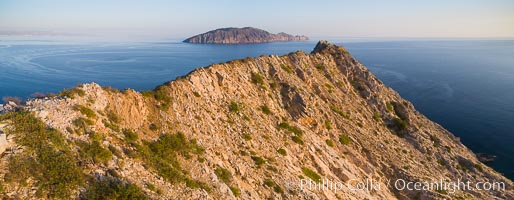 Summit Ridge of Isla San Diego, Aerial View, Sea of Cortez