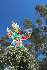 Sun God is a strange artwork, the first in the Stuart Collection at University of California San Diego (UCSD).  Commissioned in 1983 and produced by Niki de Sainte Phalle, Sun God has become a landmark on the UCSD campus, University of California, San Diego, La Jolla