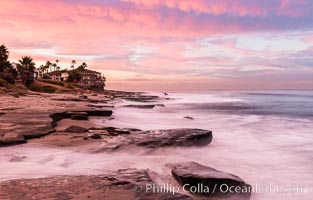 Sunrise Clouds and Surf, Hospital Point, La Jolla. La Jolla, California, USA, natural history stock photograph, photo id 28830