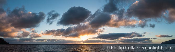 Sunrise clouds and light, panorama, viewed from Guadalupe Island over the Pacific Ocean, Guadalupe Island (Isla Guadalupe)