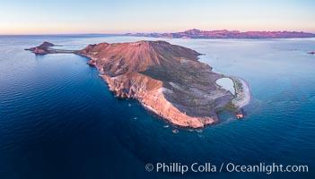 Predawn Sunrise Light over Isla San Francisquito, Aerial View, Sea of Cortez