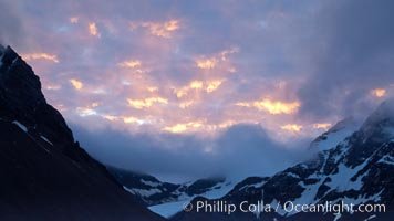Sunset clouds above South Georgia Island. Right Whale Bay, South Georgia Island, natural history stock photograph, photo id 24345