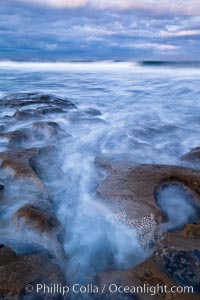 Waves wash over sandstone reef, clouds and sky. La Jolla, California, USA, natural history stock photograph, photo id 26335
