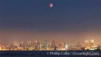 Supermoon Eclipse at Moonrise over San Diego, September 27 2015, natural history stock photograph, photo id 31868