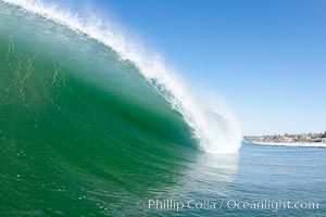 Breaking wave, tube, hollow barrel, morning surf., natural history stock photograph, photo id 19567