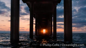 Scripps Pier solstice, surfer's view from among the waves, sunset aligned perfectly with the pier. Research pier at Scripps Institution of Oceanography SIO, sunset, La Jolla, California