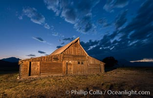 T.A. Moulton Barn and Teton Range at dusk, Grand Teton National Park