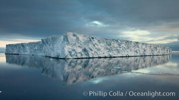 Tabular iceberg, Antarctic Peninsula, near Paulet Island, sunset. Paulet Island, Antarctic Peninsula, Antarctica, natural history stock photograph, photo id 24778