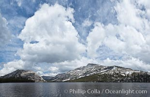 Tenaya Peak and Tenaya Lake in Yosemite National Park's high country, with Pywiack Dome, Medlicott Dome and Mount Conness in the distance