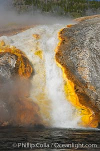 Thermophilac heat-loving bacteria color the runoff canals from Excelsior Geyser as it empties into the Firehole River, Midway Geyser Basin, Yellowstone National Park, Wyoming