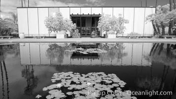 Tinken Museum of Art, reflected in lily pond, infrared, Balboa Park, San Diego, California