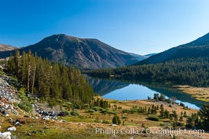 Tioga Lake viewed from Tioga Pass in the High Sierra.  The elevation of the lake is 9561.  California, Yosemite National Park