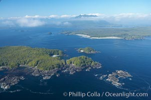 Blunden Island (foreground) and Vargas Island (distance), surrounded by the waters of Clayoquot Sound, west coast of Vancouver Island. Tofino, British Columbia, Canada, natural history stock photograph, photo id 21069