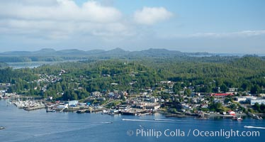 Tofino, a small beautiful town on the edge of Clayoquot Sound and the Pacific Ocean on the west coast of Vancouver Island, aerial photo