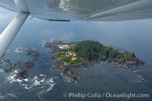 Lennard Island Lighthouse, aerial photo, surrounded by the waters of Clayoquot Sound near Tofino on the west coast of Vancouver Island, British Columbia, Canada