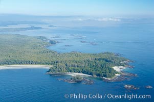 Ahouse Bay and Vargas Island, aerial photo, Clayoquot Sound in the foreground, near Tofino on the west coast of Vancouver Island