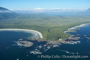 Cow Bay (left) and Flores Island, aerial photo, part of Clayoquot Sound, near Tofino on the west coast of Vancouver Island