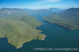Obstruction Island (left) and Flores Island (right), Shelter Inlet section of Clayoquot Sound, aerial photo, near Tofino on the west coast of Vancouver Island