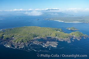 Blunden Island (foreground) and Vargas Island (distance), surrounded by the waters of Clayoquot Sound, west coast of Vancouver Island, Tofino, British Columbia, Canada