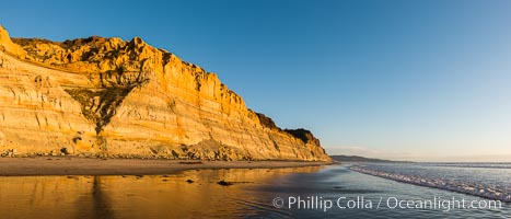 Torrey Pines cliffs at sunset. Torrey Pines State Reserve, San Diego, California, USA, natural history stock photograph, photo id 29108