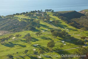 Torrey Pines Golf Course, the North course, with the Pacific Ocean in the distance, La Jolla, California