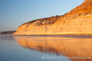 Sandstone cliffs rise above the beach at Torrey Pines State Reserve, San Diego, California