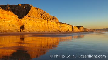 Torrey Pines State Beach, sandstone cliffs rise above the beach at Torrey Pines State Reserve, San Diego, California