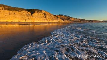 Torrey Pines State Beach, sandstone cliffs rise above the beach at Torrey Pines State Reserve, San Diego, California