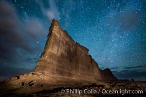 Stars over the Tower of Babel, starry night, Arches National Park, Utah