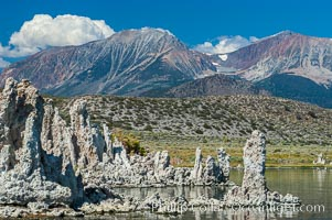 Tufa towers rise from Mono Lake with the Eastern Sierra visible in the distance.  Tufa towers are formed when underwater springs rich in calcium mix with lakewater rich in carbonates, forming calcium carbonate (limestone) structures below the surface of the lake.  The towers were eventually revealed when the water level in the lake was lowered starting in 1941.  South tufa grove, Navy Beach.,  Copyright Phillip Colla, image #09932, all rights reserved worldwide.