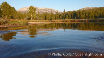 Tuolumne River, flowing through Lyell Canyon and Tuolumne Meadows, sunset, Yosemite National Park, California
