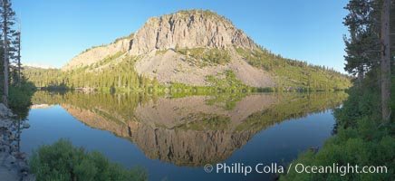 Panorama of cliffs rising about Twin Lakes at sunrise, Mammoth Lakes
